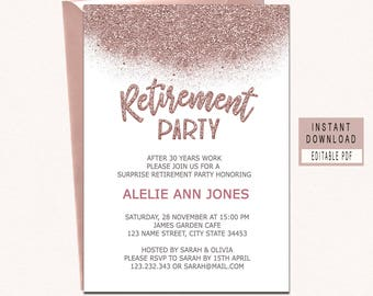 Good RETIREMENT INVITATION Instant Download, Rose Gold Retirement Invitation For  Woman, Retirement Party Invitations,