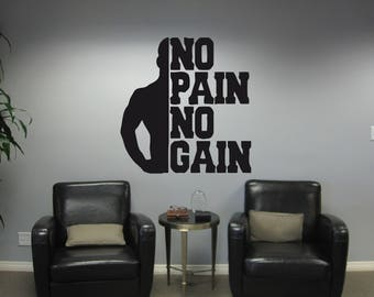 Wall Decal Sticker Bedroom quotes no pain no gain Motivation workout gym fitness sport 21m