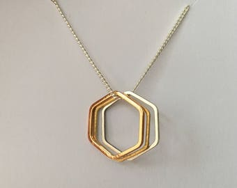 Geo Hexagon Necklace • Hexagon Charms on 18 Inch Silver Plated Chain Necklace • Rose Gold, Brass & Silver Hexagons • Geometric Necklace