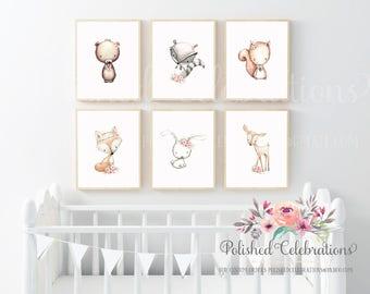 Boho Woodland Animals Set / 8x10 Nursery Art / Printable / Blush Pink Floral / Instant Download / Baby Shower Theme Decor / Bedroom Wall Art