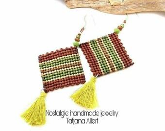 Macrame  earrings, micro macrame earrings,  Bohemian  earrings,  wrapping earrings, natural  color earrings,  hippie  earrings,  boho style