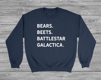 Bears Beets Battlestar Galactica Sweatshirt, The Office, The Office Sweater, Dwight Schrute, Tumblr shirt, custom sweatshirt