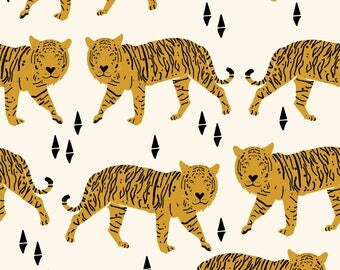 safari tiger by Andrea Lauren -  blush coral tiger girls room nursery decor little girls fabric