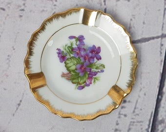 Vintage Hand Painted Ashtray Purple Flowers Floral Victorian Shabby Chic Cottage Chic Cigarette Smoking Break Bar Collectible 50s Dainty