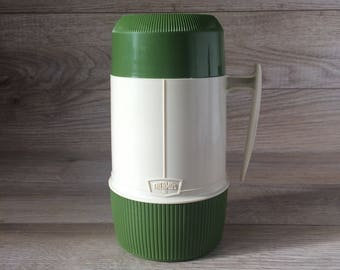 Vintage from the 70's Thermos Brand - Large Insulated Food container w. Cup / Made in Canada / Lunch, Camping, School, Travel / Retro Green