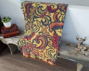 "Vintage Paisley & Floral Afghan / Knit Throw Blanket / 48"" x 70"" / Colorful Living Room Boho Decor / Couch Soft Cotton / Bedding"