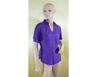 Vintage Marks & Spencer Portfolio women shirt blouse top violet cotton silk