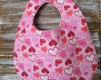 Valentine's Day Bibs- valentine baby gift-heart gift-hearts-baby bib-toddler bib-toddler love gift-fleece baby bib-drool bib-dribble bib