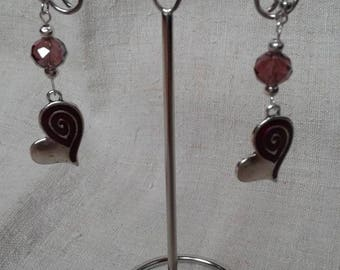 Silver and spiral heart earrings