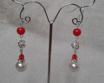 """beautiful earrings """"red and white"""""""