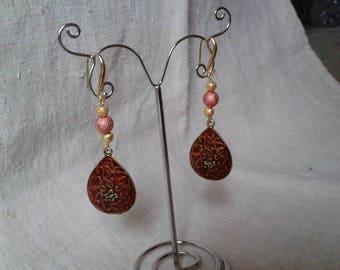 """beautiful Brown marbled charm"" earrings"