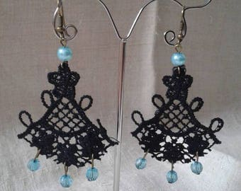 "Earrings ""Black Lace and Pearl"""