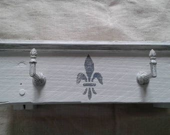 weathered grey and white coat rack Gustavian