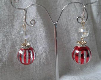 """big red Pearl"" earrings"