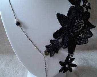 Necklace Black Lace and White Pearl