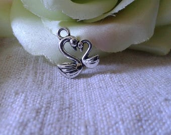 set of 5 swans, silver plated charms
