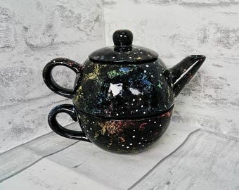 Galaxy teapot, Individual tea pot, unique tea kettle, Space Caldron, Colourful tea-pot, tea lover, birthday present gift, Star ceramic pot