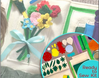 Ready to Sew Kit ~ Flower Arranging Quiet Book ~ Montessori Activity ~ ePattern + Video Tutorial ~ Toddler Busy Book ~ Soft Felt Toy Book