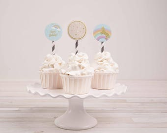 Unicorn Cupcake Toppers, Unicorn Birthday Printables, Unicorn Party Printables, Printable Cupcake Toppers  2 inch Party Circles DOWNLOAD