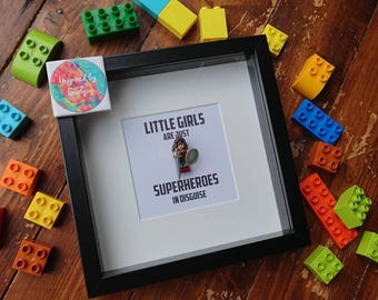 Superhero//Shadow Box Frame//Minifigures//Gift//For Her//Mother//WonderWoman//Mothers Day//Personalise//Geek//Birthday//Kids Room//Nursery