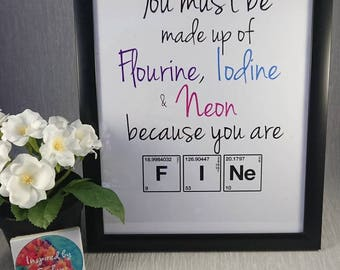 Science//Print//Chemistry inspired//Chemical Elements//Pereodic table//Personalise//FINE//Flourine//Iodine/Neon//Anniversary//Gift//A4 Print