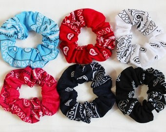 Bandana Print Hair Scrunchies, Hair Ties, Gentle Hair Elastic, Hair Accessories and Handmade Favors or Gifts