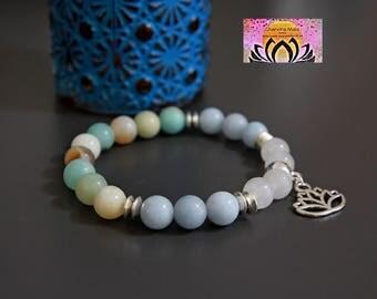 Amazonite Aquamarine Jade Silver Charm Bracelet-Beaded Stretchy Bracelet-Wrist Mala-Yoga Bracelet-Boho Elegant Jewellery-Stacking Layering