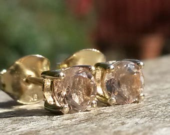 Natural AA Morganite stud earrings in 9k gold