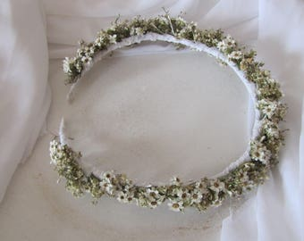 New hair Crown real flowers tiara wedding wedding cream white flowers ivory white little flowers wreath
