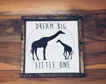 Dream Big Little One/ Mommy and Baby Giraffe / Nursery Decor