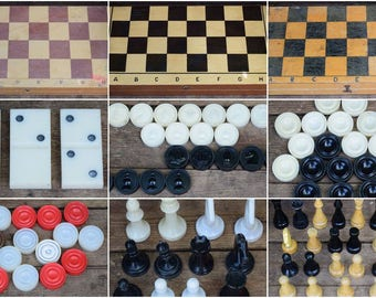 Set of vintage games, Children's Board games, Chess, Checkers, Dominoes, USSR, DISCOUNTS