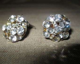 Cluster Rhinestone 1950's Earrings