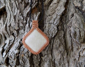 Wire wrapped white howlite pendant necklace - Heady Wire Wrap Jewelry - Unique bohemian gifts for her - Steampunk Copper Gemstone Unisex
