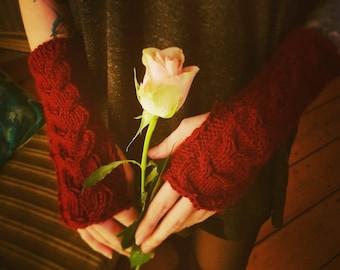 Knitted Hand cuffs/warmerss made of merino wool