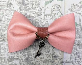 leather bow hair clip