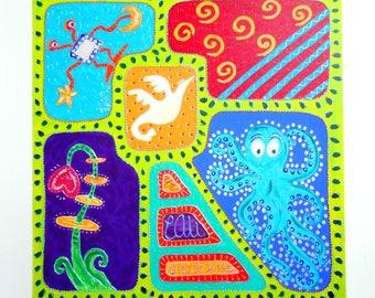 """""""bird of paradise"""" - table 80 x 80 cm cheerful acrylic painting on canvas 80 X 80 cm"""