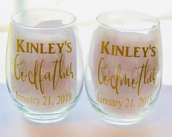 Godparents wine glasses - Godfather gift - Godmother gift - christening gifts - godparents gifts - wedding godparents gift - stemless wine