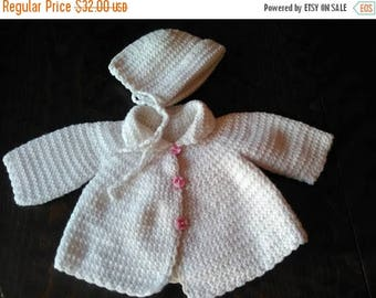 Hand-knit, Set of 2 parts, White hat and coat, Very fine yarn,  For a newborn, Baby clothes, Baby clothing, For a baby