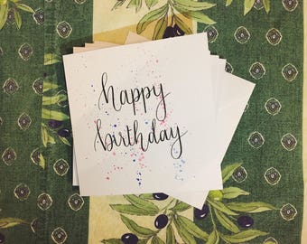 Watercolour Birthday Card, Pack of 4