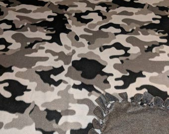Grey Multi Camo Fleece Tied Blanket