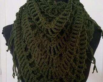 Green scarf, green Crocheted Shawl, triangle shawl, triangle scarf