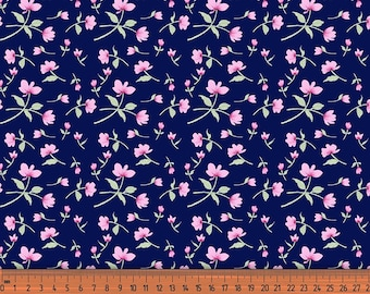 Blue Cotton Fabric, Floral Print, Dress Rayon Fabric, Quilting Material, Poly Crepe Satin Fabric, Fabric By The Yard, MIN-FL5F