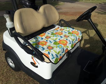 Deluxe Golf Cart Seat Cover.  Fun Orange and Blue flowers