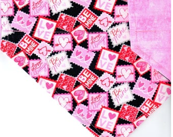 Love Stamps | Valentine Day Dog Bandana | Dog Bandana | Puppy Bandana | Pet Bandana | Over the Collar Bandana