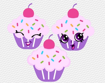 Cupcake SVG Clipart Cut Files Silhouette Cameo Svg for Cricut and Vinyl File cutting Digital cuts file DXF Png Pdf Eps vector clip art