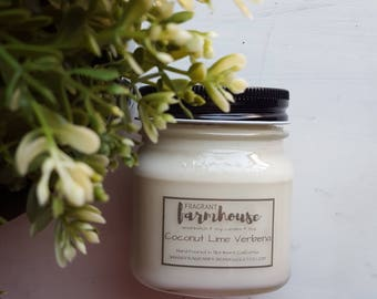 Coconut Lime Verbena - Soy Candles - Mason Jar Candles - Farmhouse - Farmhouse Decor - Coconut - Coconut Candle - Summer Candle - Favorite