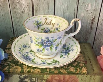 July Forget Me Not Flowers of the Month Tea Cup and Saucer Set Made in England by Royal Albert Vintage Fine Bone China Porcelain Lovely Tea