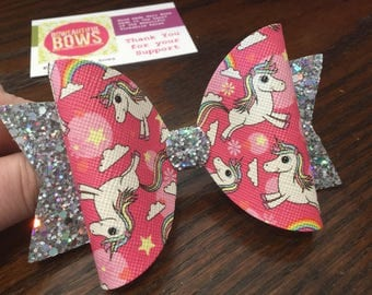 large pink unicorn hair bow