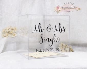 Personalized Wedding Card Box, Acrylic Card Box, Wedding Keepsake Box, Wedding Card Box with Slot, Card Box for Wedding, Card Box