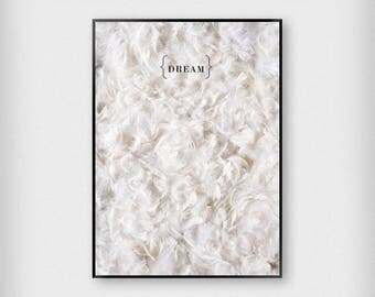 Dream Print | Bedroom | Black and White | Feathers - Sleep - Poster